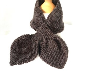 Ascot scarf hand knitted keyhole scarf in brown