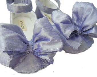Baby Girl Shoes, Silk Ankle Strap with Large Bow - by Bobka Baby