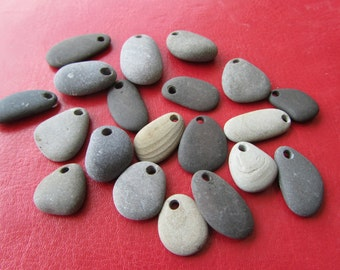 20, Surf Tumbled Stone Pendants or Charms