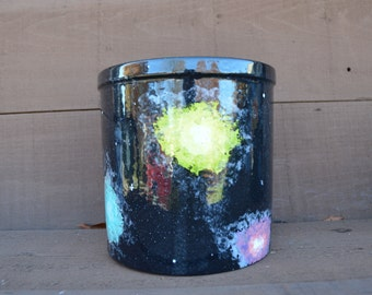 Starry Galaxy Ceramic Crock Utensil Holder - XL - Hand Painted - Black with Multi Colored Nebulas