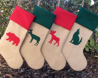 Custom Burlap Christmas Stocking- Choose your design and colors