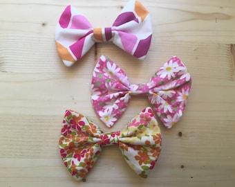 Pink hair bows small floral chevron