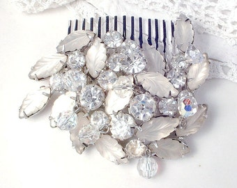 OOAK Vintage Silver Rhinestone Bridal Hair Comb, White Satin Frosted Glass Leaves & Clear Crystal Brooch Hair Accessory, Modern Hairpiece