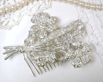 Antique Art Deco Paste Rhinestone Wedding Hair Comb, Floral Spray Bridal Headpiece Large Vintage Crystal Brooch to OOAK Flower Hair Piece