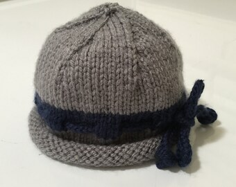 Hand Knit Gray and Navy Blue Roll Brimmed Baby Hat - Size Newborn-3 Month