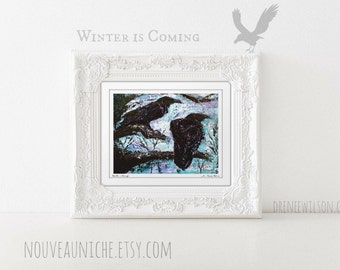 Raven Wall Art Crow Art Print Winter is Coming Black Bird Art Print Raven Painting Housewarming Gift Bird Nerd Office Decor for Men