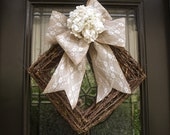 Spring Wreath, Winter Wreaths, Hydrangea Burlap and Lace Wedding Wreath, Spring Door Wreath, Modern Wreaths