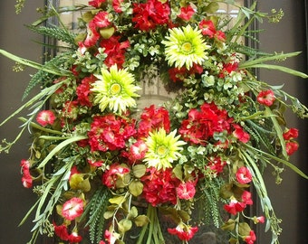 Red Wreaths, Spring Wreath, Summer Door Wreaths, Hydrangea Wreath, Red and Lime