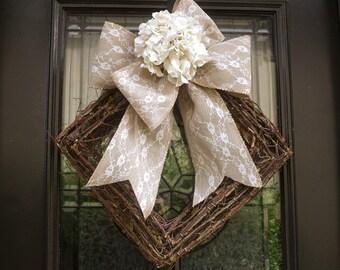 Spring Wreath, Winter Wreaths, Hydrangea Burlap and Lace Wedding Wreath, Spring Door Wreath, Modern Wreaths