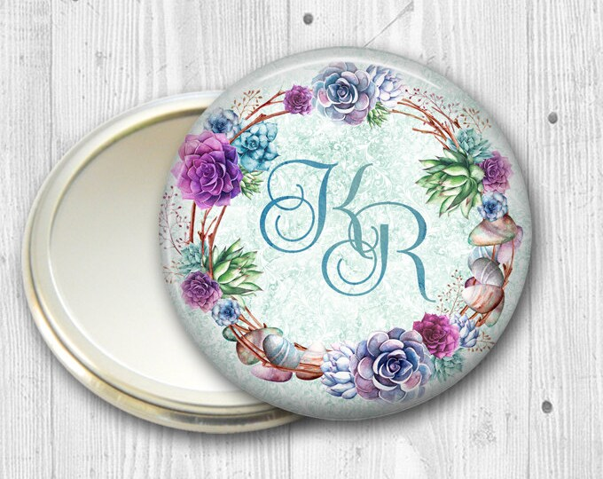 monogram mirror gifts for wedding party- monogram gifts for wedding party- succulents gift for bridesmaid- wedding party gifts- MIR-PERS1