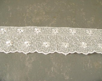 Vintage white nylon lace trim, Lace Yardage, Sewing Trim, lingerie lace, supply