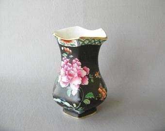 Vintage Whieldon Ware Vase, English, Canton, Black, Floral, England, F Winkle