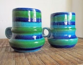 Pair of Mid Century Modern Baldelli Pottery Italy Blue and Green Striped Mugs
