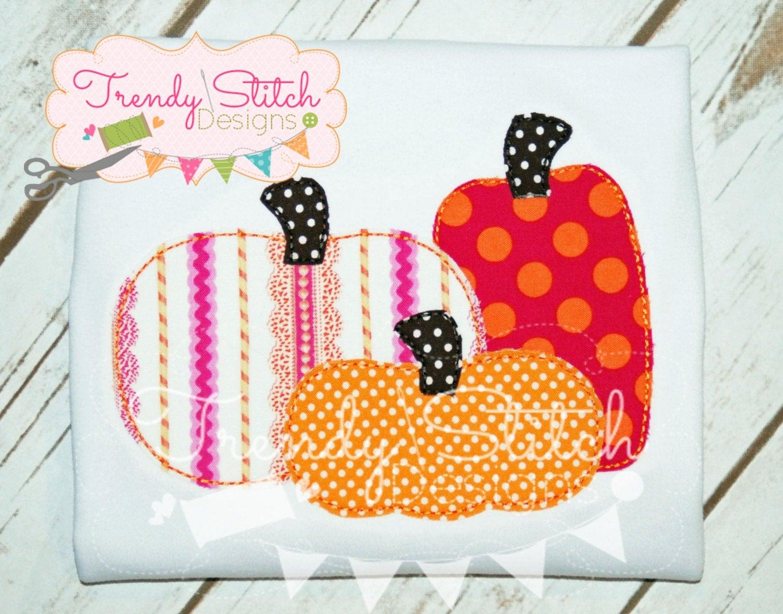 Pumpkin Patch Raggy Applique Design Machine Embroidery