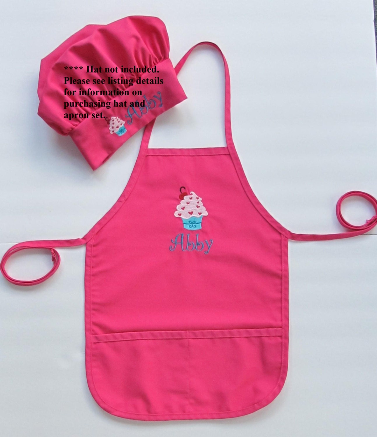 Personalized Kids Apron Monogrammed Childs Apron Cupcake