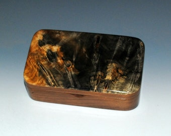 SALE     Small Wood Treasure Box - Buckeye Burl on Walnut Handmade by BurlWoodBox - Small defect on the back...