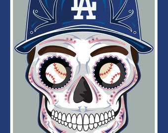 Los Angeles Dodgers Sugar Skull 11x14 print
