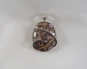 A TOUCH of Pink on Jasper in Silver Pendant