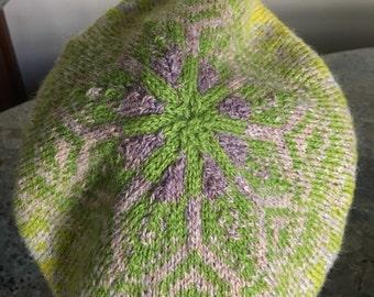 Hand knit wool tam