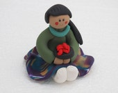 Indian Maiden sitting girl polymer clay figurine with chili bowl