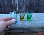 Vintage Colored Etched Shot Glasses (3) - Retro Chic