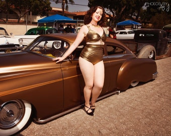 Pinup Sunshine Swimsuit Shimmer Gold High Gloss Personalized Poster
