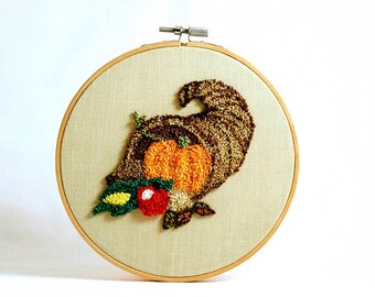 Ready to Ship! Thanksgiving Cornucopia Embroidery Hoop Art Wall. Autumn, Fall Home Decor Punch Needle Embroidery. Hostess Gift. Pumpkin