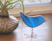 Dark Turquoise Woodland Bird Ornament Stained Glass Baby Chick Suncatcher Easter Gift Idea