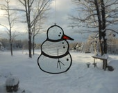 lg. snowman, stained glass suncatcher