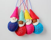 Gnome Christmas Ornament, Handmade Christmas Ornament, Elf, Felt Ornament, Holiday Decoration, Hand-stitched, ready to ship