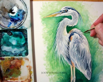 Great Blue Heron watercolor study - Original Painting