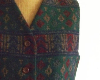 ON SALE southwestern vest - 80s - 90s - wool vest - fall - back to school