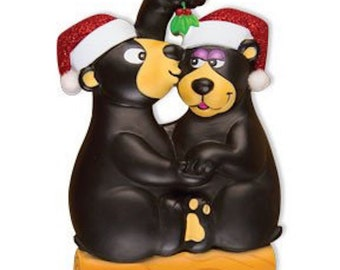 Personalized Kissing Black Bear Newlywed Couple's First Christmas Ornament Family of Two- Anniversary Gift