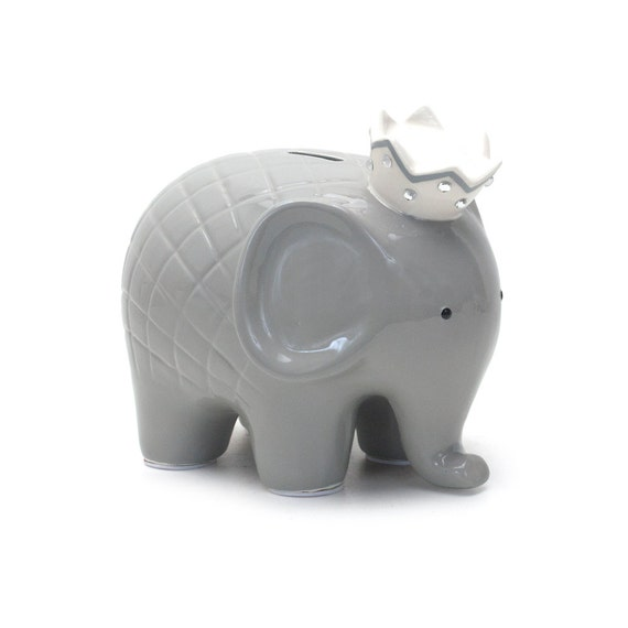 New personalized large gray elephant crown piggy bank for How to make a piggy bank you can t open