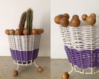 Vintage 1960s woven planter with wooden beads / purple sixties basket plant pot with beads