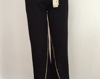 Fun Gold Accented Black Cotton Vintage Ice Jeans by ICEBERG 30 NOS