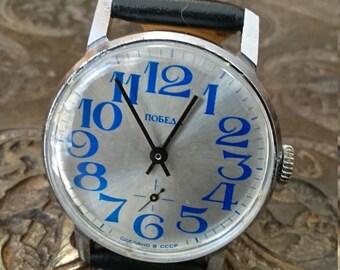 Wrist watch mens watch Pobeda grey watch men watch, men's mechanical watch,
