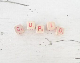 Valentine Decoration Cupid Vintage Wood Letter Cubes Cupid Small Blocks