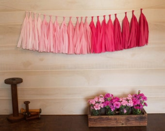ASSEMBLED Pretty in Pink Garland Tissue Paper Tassels Garland Kit Choose your  quantity Sets of 6 to 50