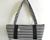 Tomboy Handbag/zippered handbag/fabric handbag/veganbag/purse/zipperedpurse/blackandwhitestripe
