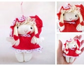 Cute Vintage Valentine's Day Doll Ornament, Little Girl Doll in Red Bonnet and Dress, Soft Fabric Doll Ornament Made by Russ Berrie & Co.