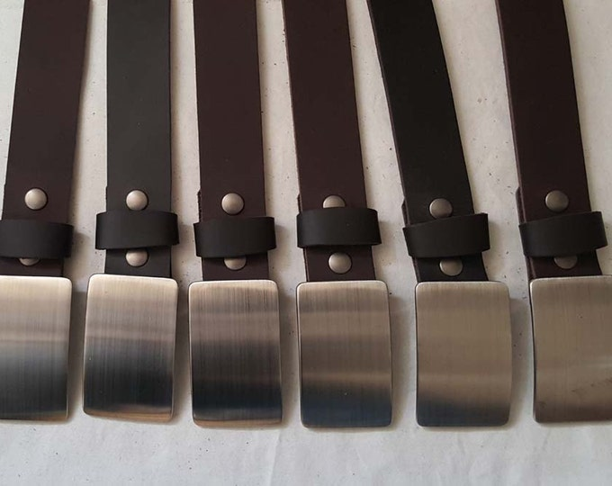 "SET of SIX Wedding Party Belt N Buckle SETS Brushed Stainless Steel Hypoallergenic Belt Buckle & Your Choice Leather Snap Belt 1.25"" Wide"