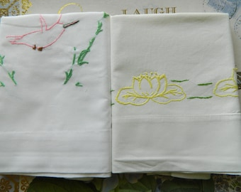 "2 Sweet Embroidered ""Childlike Stitches"" Pillowcases"
