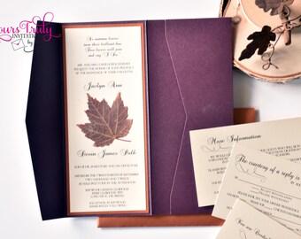 Maple Leaf Autumn Wedding Invitation Pocket Folder Suite Custom Stationery Plum, Copper, Bronze Brown