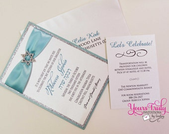 Sample - Star of David Bat Mitzvah Invitation with Crystal Buckle Turquoise Blue and Silver Glitter or Custom in your colors