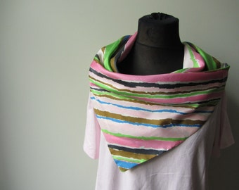 Plus Size Pink Tshirt, Cowl Neck Shirt, Repurposed Scarf Top, Mod T Shirt, Oversized Collar Shirt, Cowlneck T-Shirt, Upcycled Clothing