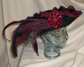 Black Pirate Hat- Fancy Black Wool Tricorn with Burgundy Trim, Ostrich, Rooster and Peacock Feathers