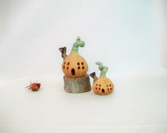 Pumpkin Fairy House  - Handmade, Wheel Thrown - Ready to Ship -- You Choose 1