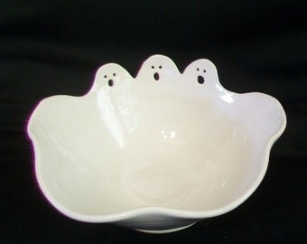 Ghost Bowl - Candy,  Dips, Salsa - Halloween Table Decoration - Ready to Ship - Actual Bowl - Hand Carved,  Made on the Potters Wheel