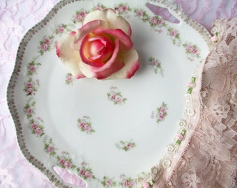Serving Platter Antique Zeh Scherzer Mignon Bavarian Pink Rose - Weddings Bridal